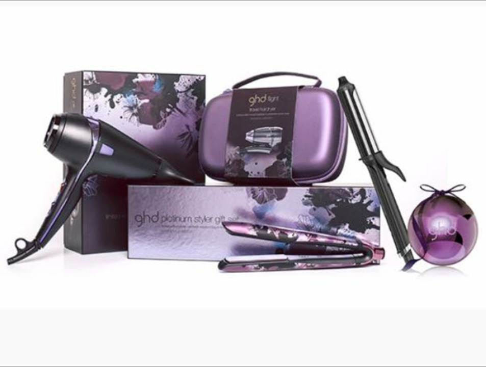 GHD Platinum hair styling kit with hair straighteners, curlers and hair dryer