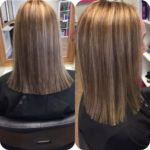 shoulder length haircut with blonde highlights