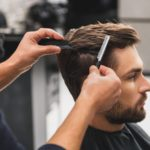 Mens haircut in salon
